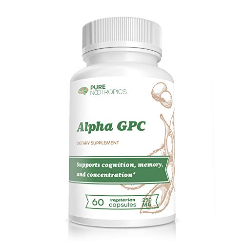 Pure Nootropics - Alpha GPC 250 mg Capsules | 60 Veg Cap Value Bulk Savings Pack | Brain Function Boost & Muscle Strength Enhancement Supplement | Reduce Cognitive Brain Fog and Age Related Decline