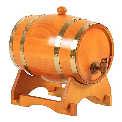 Nobranded Barriles de Almacenamiento de Barril de Vino de Pino Vintage con Soporte para Vino, Whisky, Restaurante casero - 5L marrón Amarillento