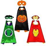 Sweetneed chida yi Capa de Superhéroe para Niños - 3Capa y 3Máscaras - Ideas Kit de Valor de Cosplay de Diseño de Fiesta de Cumpleaños de Navidad - Juguetes para Niños y Niñas
