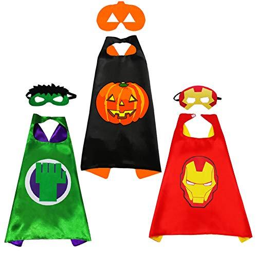 Emil Sense costumi supereroi bambini-3 Mantelli e 3 Maschere-Creatività Regali di Compleanno Mantello per costume di carnevale Maschere Giocattoli per Bambini e Bambine (Supereroe1)
