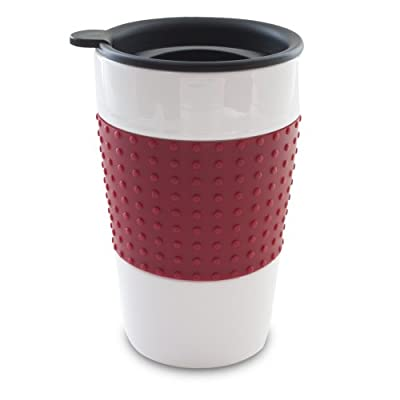 Double Wall Stoneware Tumbler With Ribbed Sleeve
