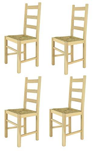 Tommychairs - Set 4 sillas Rustica para Cocina y Comedor, Estructura en Madera de Haya lijada, no tratada, 100% Natural y Asiento en Paja