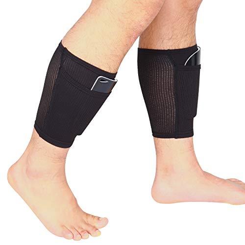 Espinilleras de fútbol para niños, calcetines de fútbol, con bolsillos, transpirables, suaves, color negro, juego para adultos y jóvenes, equipamiento de fútbol, prevención de lesiones (L)
