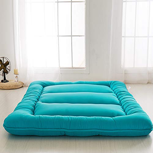 Japanese Floor Mattress Futon Mattress, Thicken Tatami Mat Sleeping Pad Foldable Roll Up Mattress Boys Girls Dormitory Mattress Pad Kids Floor Lounger Bed Couches and Sofas, Turquoise, Twin Size