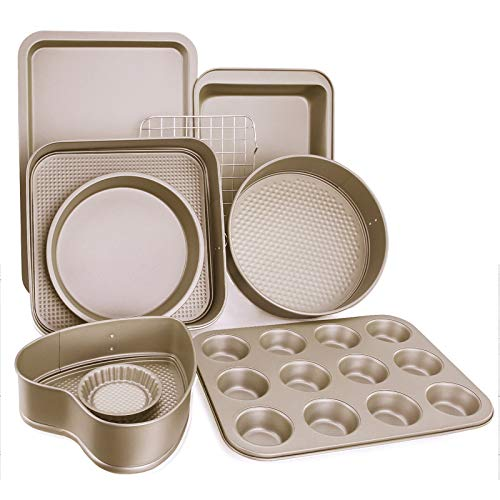 Esonmus 9pcs Nonstick Carbon Steel Bakeware Set Includes Bread Pan, Baking Sheet, Cookie Sheet, Springform Shaped Round Cake Pan, Cake Muffin Mold Cup And Cooling Rack, DIY Baking Tools