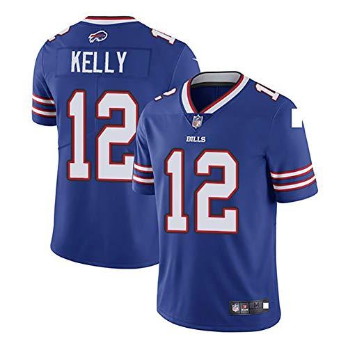 AFDLT Hombres Rugby Jersey,Bill Versión Elite Bordado 12#,Fan Sportswear,Respirable Camiseta de fútbol,Casual Redondo Polo Shirt,Blue,XXL