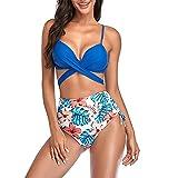 Conjunto Bikini Sujetador Bragas Bañador 2 Piezas, Conjunto de Bikini de Cintura Alta de Las Mujeres más tamaño Vendaje Trajes de baño 2 Piezas Traje de baño Spaghetti Correa Twist Front Front Flower