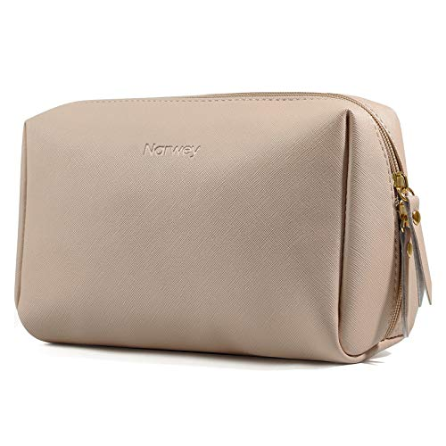 Large Vegan Leather Makeup Bag Zipper Pouch Travel Cosmetic Organizer for Women and Girls (Large, Brown)