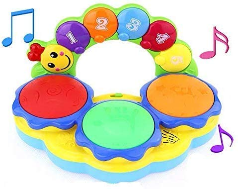 Early Education Baby Portable Hand Pat Drum Toy Piano Musical Instrument Toy with Lights and Music Learning Machine Toy Various Funny Sounds & Drumming Rhythm Toddlers Children & Kids Boys and Girls