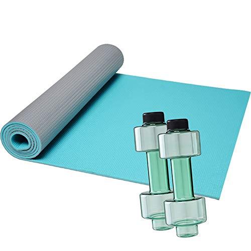 FUN FAN LINE - Pack de 1 Esterilla de Yoga Bicolor con Superficie Texturizada y Agarre Antideslizante + 2 Botellas mancuerna de Medio Kilo Cada una para Entrenamiento en casa (Gris + Verde Menta)