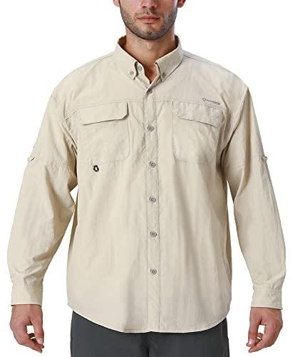 NAVISKIN Men's UPF 50+ Sun Protection Outdoor Long Sleeve Shirt Lightweight Quick-Dry Cooling Fishing Shirts Khaki Size L