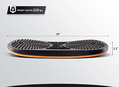Product Image 4: FEZIBO Standing Desk Anti Fatigue Mat Wooden Wobble Balance Board Stability Rocker with Ergonomic Design Comfort Floor Mat (Medium, Obsidian Black)