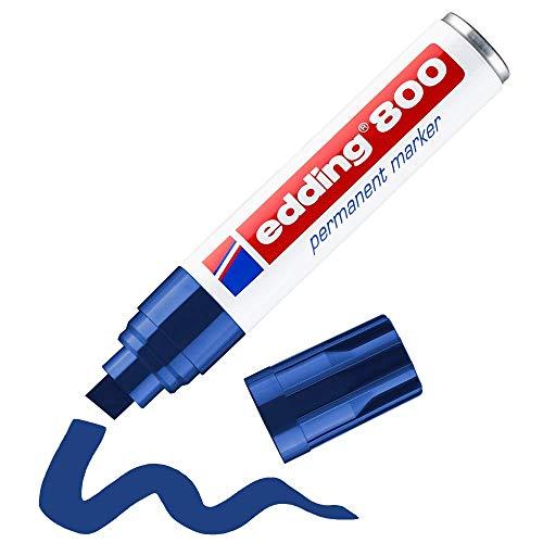 Edding 800 marcador permanente - azul - 1 rotulador - punta biselada 4-12 mm - para marcas llamativas - resistente al agua, secado rápido, indeleble - para cartón, plástico, madera, metal, vidrio