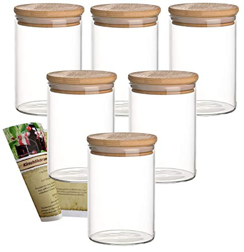 gouveo 6er Set 500 ml Glasbehälter aus Borosilikatglas mit Bambus-Deckel, Vorratsgläser, Gewürzgläser, Glasdosen, Vorratsdose