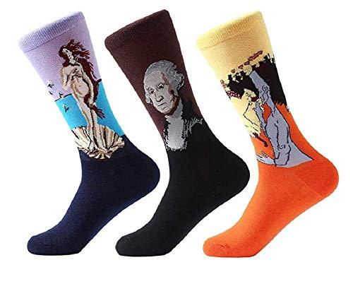Ducomi Unisex-sokken, pak van 3 stuks, zacht katoen met opdruk van Art en Quadri, beste kwaliteit en elasticiteit, maat EU van 36 tot 45, cadeau-idee voor dames en heren
