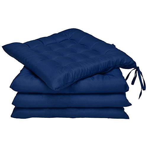 Beautissu 4er Set Stuhlkissen 40x40 mit Bändern – Indoor & Outdoor Sitzkissen Lea mit 5 cm Polsterung - Auflagen für Gartenmöbel & Stühle in Blau