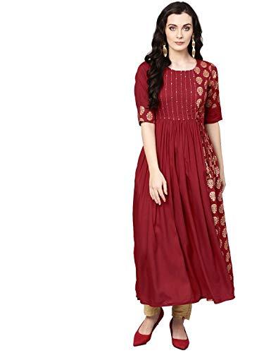 Hiral Designer Mall - Vestido largo para mujer Kurta indio Kurti - Rojo - 74