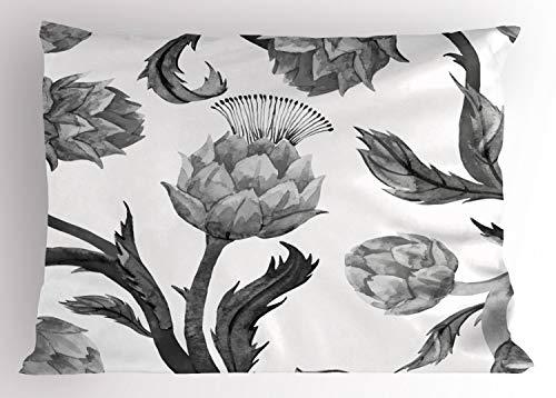 ABAKUHAUS Artisjok Siersloop voor kussen, Stelen en bladeren eet, standaard maat bedrukte kussensloop, 75 x 50 cm, Zwart en wit