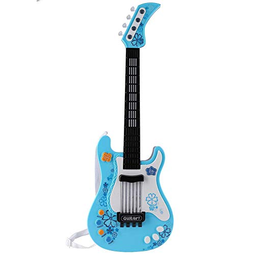 Gitarre Kinder mit Sound, Kinder Bass Gitarre Geschenk E-Gitarre Spielzeug mit Sound und Lichter Kindergitarre Rockgitarre Musikinstrument Saiteninstrumente Pädagogisches Spielzeug Gitarre(Blau)
