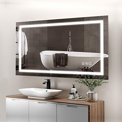 41rg75Aqf6L - ANTEN 40x24 Inch LED Bathroom Mirror, Horizontal/Vertical Anti-Fog Bathroom Mirrors for Wall, 3000-6000K Dimmable LED Lighted Vanity Mirror