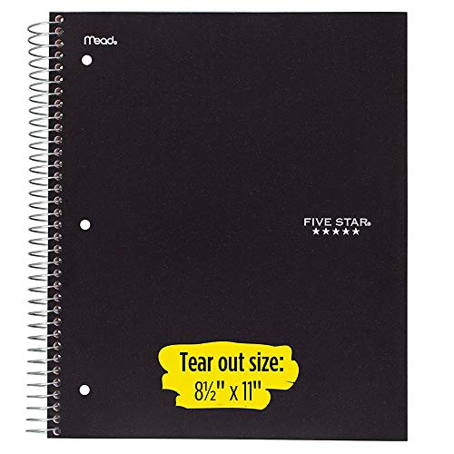 Five Star Spiral Notebooks, 5 Subject, College Ruled Paper, 200 Sheets, 11 x 8-1/2 inches, Black, White, 2 Pack (73035) Photo #2