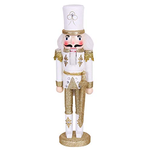 Canghai Nussknacker-Soldat, Holz Nussknacker Soldat Figur Dekoration, 30 cm hoch Nussknacker Weihnachten Ornament Urlaub Feier Outdoor Puppe (Gold)