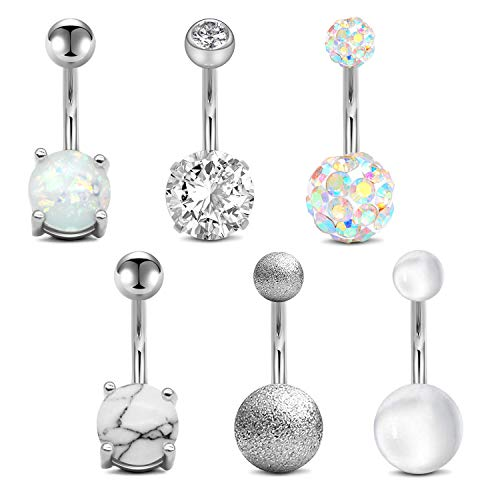 """QWALIT Belly Button Rings 14G Surgical Steel Belly Rings CZ Opal Navel Piercing Jewelry for Women Girls 3/8"""" 10mm"""