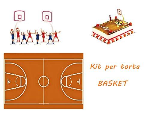 ARCOBALENOPARTY Kit per Torte Basket Ostia Campo di Basket con Set Giocatori 10 Pezzi