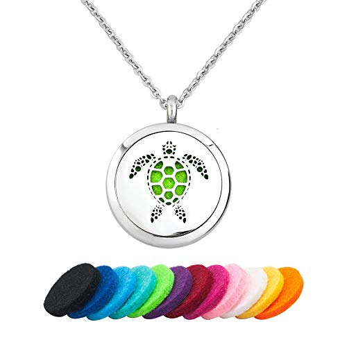 Casa De Novia Essential Oil Necklace Turtle Animal Aromatherapy Diffuser Locket Pendant Jewelry with 12 Color Refill Pads Stainless Steel