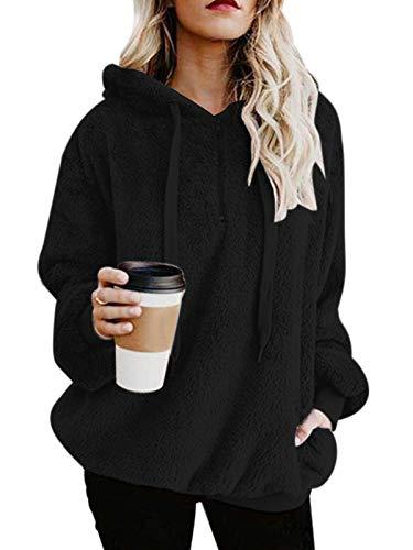 Century Star Womens Fuzzy Hoodies Pullover Cozy Oversized Pockets Hooded Sweatshirt Athletic Fleece Hoodies Black XX-Large