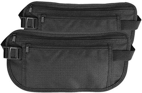 [Travel Belt] Deluxe Multi-pakket reistas Belt/Riemen Portefeuilles/Race Pouch Money Passport Tickets Mobile Phone Black Kleur: Zwart (Color : Noir)