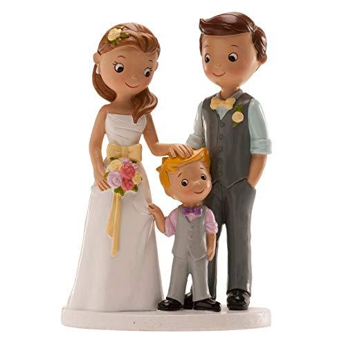 Figura boda PERSONALIZADA novios CON HIJO tarta figuras GRABADAS niño