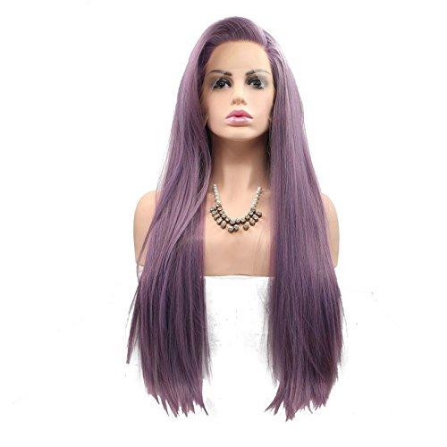 Sun Goddess Des Cheveux Lisses Et Soyeux Synthétique Perruque Lace Front Violet Pour Les Femmes Résistantes À La Chaleur De La Partie Latérale De Cheveux De Fibre Parti Cosplay Perruques, Violet, 20Cm