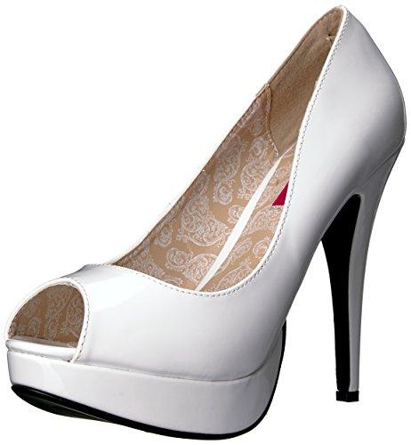 Pleaser Pink Label Chaussures à Plateforme Chloe-01 pour Femme. - - Aspect Cuir Verni Blanc, 42 EU