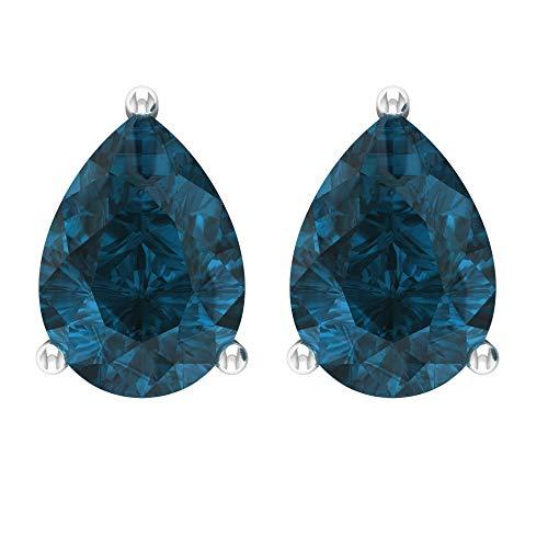 Rosec Jewels 10 quilates oro blanco pera Blue Topacio azul - Londres