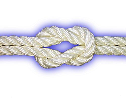 10mm Polyester-Seil 3-schäftig gedreht 1560kg 10m weiß Festmacher Ankerleine PES Leine Reepschnur