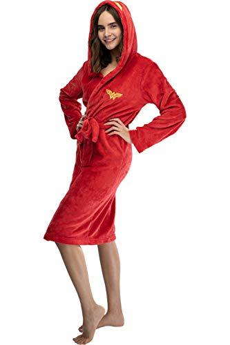 INTIMO Wonder Woman Juniors Embroidered Hooded Fleece Robe (