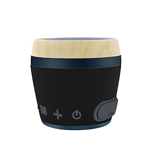 L-sister La nueva tarjeta de altavoz Bluetooth inalámbrica de madera maciza de tela creativa fuera de subwoofer sonido de alto carácter nuevo modelo (color: negro, tamaño: 13 x 12,5 x 13,5 cm)