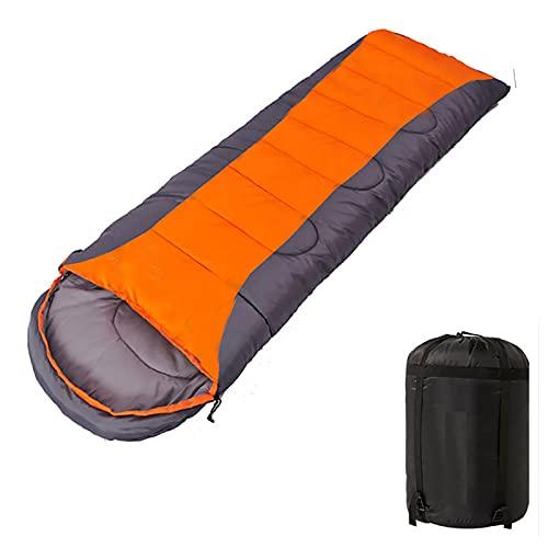 Saco de dormir para adultos de 4 estaciones, saco de dormir con saco de compresión, ligero, cálido para viajar, acampar, senderismo, actividades al aire libre, 1100 g, 1,1 kg, color naranja