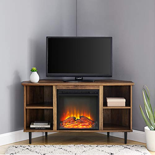 Walker Edison Simple Corner Fireplace Stand with Open 52' Flat Screen Universal TV Console Living Room Shelves Entertainment Center, Rustic Oak