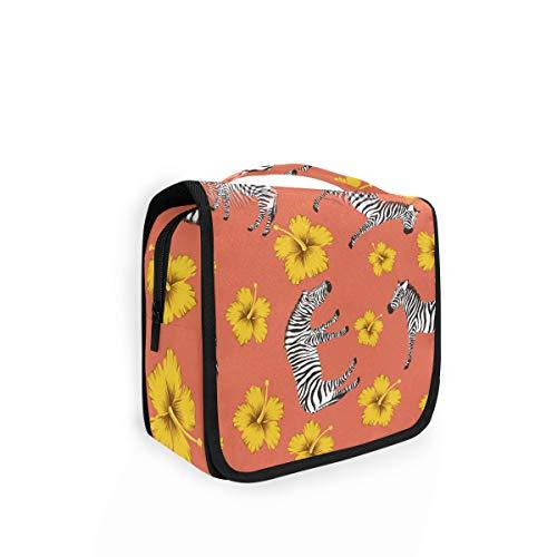 Preisvergleich Produktbild Rulyy Kosmetiktasche zum Aufhängen,  Tier-Design,  Zebra-Blumen-Muster,  Kosmetiktasche,  große Kapazität,  Organizer für Reisen,  Make-up,  tragbare Tasche für Mädchen und Damen
