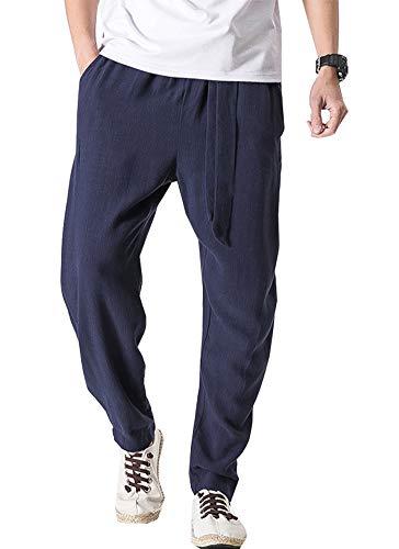 Pantalones de harén de lino estilo samurái japonés para hombre, estilo bohemio, holgados, holgados