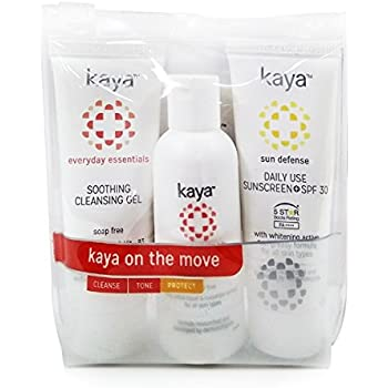 Kaya Clinic On The Move Kit, 3 Step Travel Friendly Kit With A Cleansing Gel/Facewash + Pore Minimizing Toner + Sunscreen With Spf 30, (3 * 25 Ml) 75 Ml