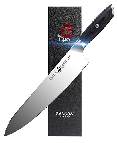 TUO Chef Knife - 10 inch Kitchen Cooking Knife Pro Chef's Knife - German HC Steel Kitchen Knife with Pakkawood Handle - FALCON SERIES with Gift Box