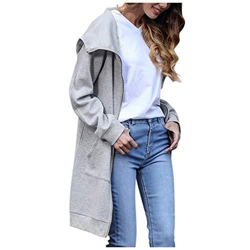 Xmiral Kapuzenjacke Damen Einfarbig Dünn Langärmliges Sweatshirt Langer Jacken Mantel Reißverschluss Tasche Slim Fit Strickjacken(Grau,XL)