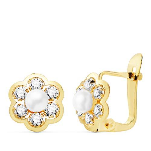 Orecchini da bambina per Prima Comunione, in oro 18 carati, con perle e zirconi, dimensione 7 mm