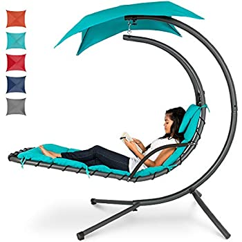 Best Choice Products Outdoor Hanging Curved Steel Chaise Lounge Chair Swing w/Built-in Pillow and Removable Canopy Teal