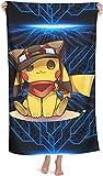 J-LIFE Pikachu Serviette de plage Pokémon pour enfants et adultes, serviettes de bain 100 % microfibre, accessoires de serviette de bain, serviettes de piscine (3,75 cm x 150 cm)