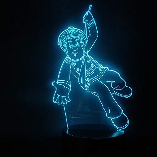 Jiushixw 3D acryl nachtlampje met afstandsbediening van kleur veranderende tafellamp nationale brandweerman Sam's Flooring Indoor Foundation Hoge eiken tafel