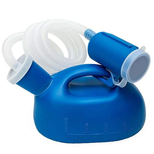 YYDE Männer-Pissoir Anti-Überlauf Urinal Männer Schlauch Pissoir Tragbare Lidded Pissoir Flasche 2000ml, benutzt für Krankenhaus Start Camper Van Reisen (blau)